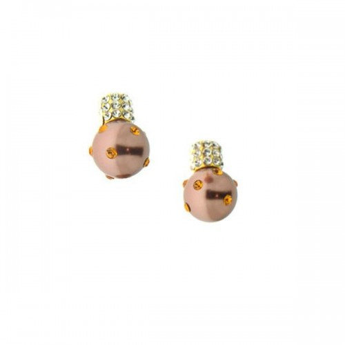 Gold Plated Earrings Bronze Pearls
