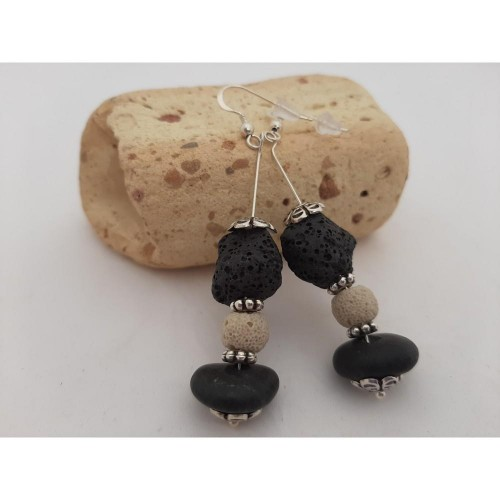 black white lava beads/